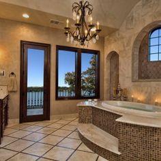 Horseshoe Bay Mediterranean Lake House Master Bath Views by Zbranek & Holt Custom Homes, Austin and Horseshoe Bay Luxury Custom Home Builder