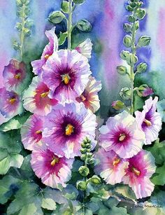'Hollyhocks' Poster by Ann Mortimer Watercolor 36 × 25 cm. W and N artists on Saunders Waterford Backlit hollyhock … Oil Painting Flowers, Watercolour Painting, Watercolor Flowers, Watercolors, Arte Floral, Mermaid Canvas, Hollyhocks Flowers, Graffiti Wall Art, Beautiful Paintings