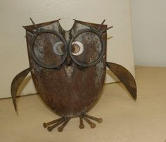 Owl made from shovel and recycled metal on Etsy, $32.50