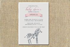Pink Zebra Baby Shower Digital Invitation - Printable on Etsy 15$ #invitation #babyshower