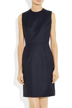 #JunyaWatanabe navy wool-twill dress. Could be paired with a blazer and pumps for an interview or could be worn to school for neat, pulled together look. #mbastyle #thestylishmba