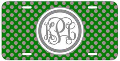 Personalized Monogrammed Polka Dot Green License Plate Custom Car Tag L481