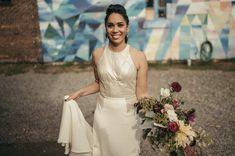 Real Weddings: Meet Angelina. Gown: Carol Hannah Custom | Jacket: Sequin Smoking jacket | Photography: Joshua Brown Photography