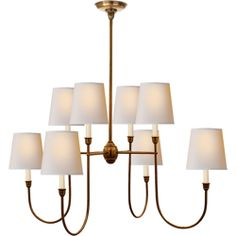 Thomas O'Brien Vendome Large Chandelier in Hand-Rubbed Antique Nickel with Natural Paper Shades by Visual Comfort TOB5008HAB-NP