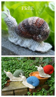 Amigurumi Snail Crochet Free Patterns: Roll Up snails, heart snails, mini snails, video tutorial Crochet Snail, Free Crochet, Amigurumi Patterns, Knit Patterns, Butterfly Dragon, Monarch Butterfly, Crochet Projects, Crochet Ideas, Learn To Crochet