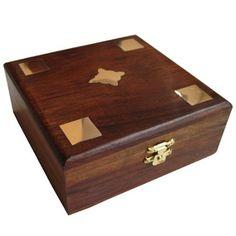 Girls Jewelry Boxes Brass Inlay Handmade Black Wood Chest