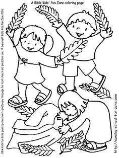 palm sunday coloring page children worshiping jesus