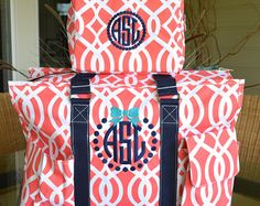 C Damask Utility Tote Bridal Gift Nurse S Teacher Monogrammed On Etsy