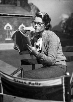 Grace Kelly studying a script