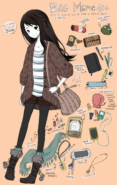 Find images and videos about cute, outfit and anime on We Heart It - the app to get lost in what you love. Pelo Anime, Manga Anime, Mode Harry Potter, What's In My Backpack, Art Kawaii, Art Shed, Drawing Bag, Drawing Prompt, Bag Illustration