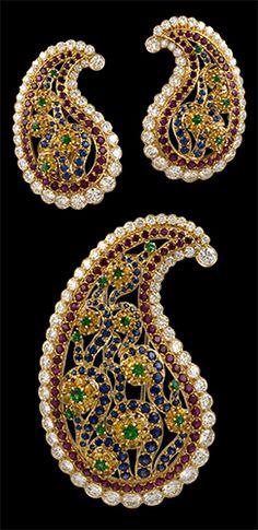 Van Cleef & Arpels 18kt. Yellow Gold Diamond, Ruby, Emerald, Yellow & Blue Sapphire 'Pasiley' Brooch & Earrings.