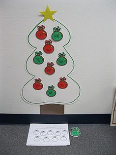 Write each word on a ornament and then scatter them. Have a child volunteer, and as they recite the MV they can decorate the tree from top to bottome