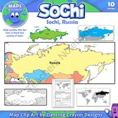 Maps of Sochi / Russia: Clip Art Map Set from Dancing_Crayon_Designs on TeachersNotebook.com -  (10 pages)  - Do your students know where Sochi is?  Use these free maps in the lead up to the Winter Olympics to help kids locate Sochi in Russia.