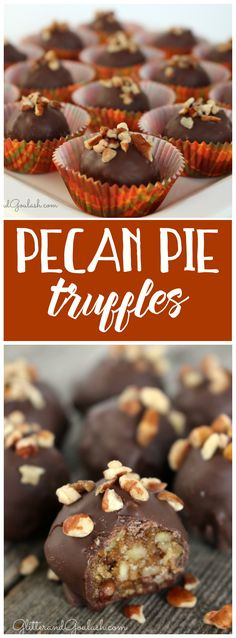These pecan pie truffles are amazing! Perfect alternative to pie at Thanksgiving Pecan Recipes, Candy Recipes, Holiday Recipes, Cookie Recipes, Dessert Recipes, Pecan Pies, Pecan Pie Muffins, Pecan Pie Cookies, Pecan Pie Bark Recipe