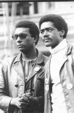 SNCC leader Stokely Carmichael and Black Panther Party co-founder Bobby Seale, both demonstrated forms of liberation and assertiveness within the Black Power Movement. Martin Luther King, African American Clothing, Stokely Carmichael, Bobby Seale, Georgia, Atlanta, Black Panther Party, By Any Means Necessary, Black History Facts