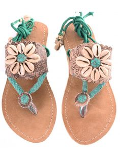 Koop PH&T Slippers Curly Shels Anklestrap Cognac/Turquoise