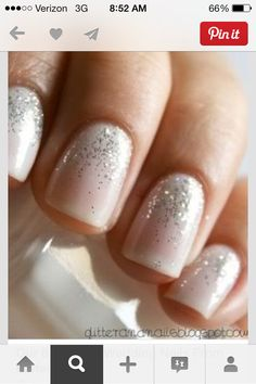 Bridal Nail Designs ♥ Wedding Nail Art This one s my favorite--even do a  french manicure with the glitter like this at the bottom. da1672f1bec5