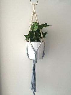 $5.76 Etsy Sky Baby Blue Plant Hanger Cotton Rope Natural macrame plant hanger, pot plant holder, plant hanging basket, indoor planter, terrarium