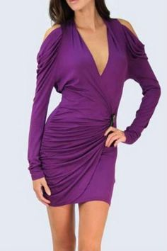 Byzantium purple crossover bodycon dress with cold shoulders and zipper accent!   Byzantium Crossover Dress by Double Zero. Clothing - Dresses - Long Sleeve Clothing - Dresses - Mini Clothing - Dresses - Night Out Naples, Florida