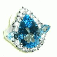 Price $145.43 Free Priority Mail  Wow Sterling Silver 6.90 tw Pear Shape Blue Topaz and .95ctw Round White Topaz ring. The center blue topaz is a big...