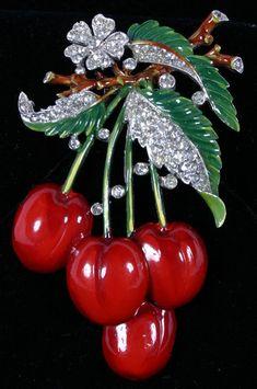 Trifari cherries pin brooch, featuring deep red and green enamel with rhinestones. #Trifari #Rhinestones