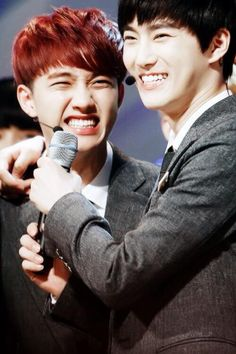D.O and Suho, aww they're too cute ^^