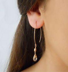 Gold Tear Hoop and Dangle Earrings With Swarovski Crystals, Swarowski Bead Dangle Earrings - a unique product by Dana-Gal-kohen. Via en.DaWanda.com.