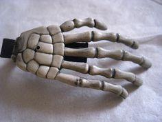 Skeleton Hand Plain Rockabilly hair clip by straykittencreations, $3.70