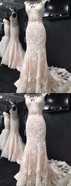 #Sheath #Mermaid #sweeptraindress #lace #illusion #appliques #bridal #bridalgown #fashion #love #blushpink 2017 Scoop Neck/Illusion Neck Sleeveless Wedding Dresses, Mermaid Bridal Gown for Autumn ASD26783