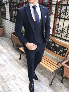 Piomo All Black Tuxedo (Wedding Special) – MenSuitsPage All Black Tuxedo, Black Tuxedo Wedding, Black Suit Men, Tuxedo For Men, Black Suit Groom, Navy Blue Suit, Italian Mens Fashion, Wedding Suit Styles, Best Wedding Suits For Men