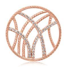 Nikki Lissoni Brass Rose Plated 33Mm Rebel Stripes Clear Swarovski Element Set Medium Coin