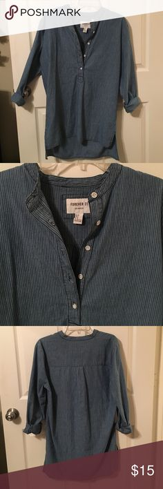 Denim blue and white pinstriped tunic Half button down, blue and white pinstriped, denim tunic top Tops Tunics