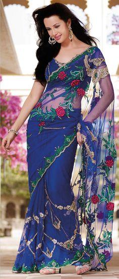 Royal #Blue Net #Saree With #Blous