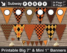 """INSTANT DOWNLOAD Printable Halloween Party Banner. 7"""" Big Party Banner & 1"""" Mini Cake Bunting. Black and Orange. Add Your Text / Photo DIY by subwayParty, $5.20"""