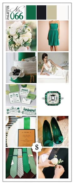 Pantone color of the year: emerald green! Greens, black, white and tan inspiration. Green shoes, groom's ties, and invitations. Soiree event design color palette in Spokane, Washington.