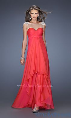 Long Open Back Gown with Cap Sleeves at SimplyDresses.com