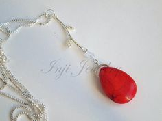 Lovely Simple Red Tear Drop Coral Necklace in by INJIJEWELRY