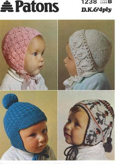 Baby KNITTING PATTERN Hats, bonnets, Helmet, Beanie, Cap