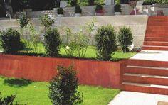 Rust Corten steel garden grate design with rust Steel Retaining Wall, Lake Landscaping, Weathering Steel, Outdoor Stairs, Garden Steps, Pallets Garden, Terrace Garden, California Style, Deco