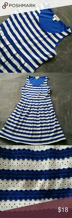 """Perfect Summer Dress Royal Blue and White eyelet stripes. Preloved but like new condition. Lined.  Shell-58% cotton, 39% polyester, 3% spandex. Lining-100% polyester. Measures approximately 35"""" from shoulder (as shown in picture) to bottom. Elle Dresses"""