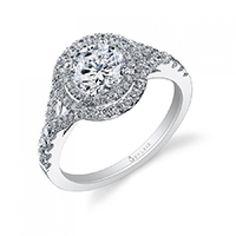 Glamorous Double Halo Diamond Engagement Ring