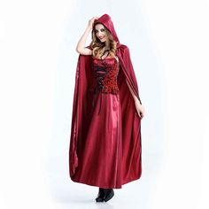 Little Red Riding Hood Costume Evil Little Red Cup Costume Halloween Costumes for Women Fancy Dress Cool Cloak Corset Long Dress