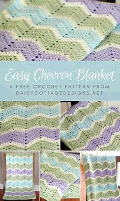 Easy Crochet Afghans Use this chevron blanket crochet pattern from Daisy Cottage Designs to create beautiful baby blankets and afghans. Crochet Afghans, Striped Crochet Blanket, Crochet Baby Blanket Free Pattern, Crochet For Beginners Blanket, Crochet Motifs, Chevron Baby Blankets, Baby Afghans, Easy Crochet Baby Blankets, Baby Chevron