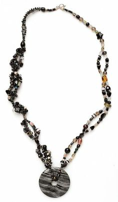 This beaded necklace design is great for using leftover beads. Plus the donut shaped gemstone pendant will surely add some variety to your handmade jewelry collection!