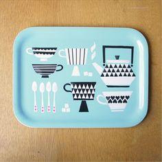 Tray Kuppila by Polkka Jam Cute Kitchen, Kitchen Stuff, Kitchen Prints, Cool Inventions, Vintage Tins, Plastic Laundry Basket, Finland, Design Projects, Lunch Box
