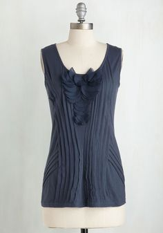 Exhibition Preview Top. Before your installation opens, you make one last round in this dusk blue top. #blue #modcloth
