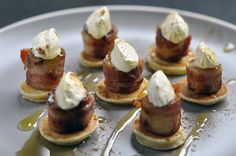 Banana & Bacon Bites from Our Kitchen at Fisher & Paykel. Bite sized morsels, perfect for sharing with friends over a long leisurely brunch.  Banana, bacon and maple syrup are a classic sweet and savoury combination.