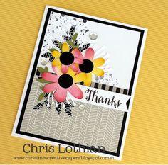 Thank you card created by Chris Lothian using Artistry Cricut shapes, La Vie En… Scrapbook Paper Crafts, Scrapbook Cards, Scrapbooking, Cricut Cards, Beautiful Handmade Cards, Heart Cards, Flower Cards, Cute Cards, Greeting Cards Handmade