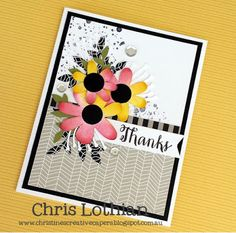 Thank you card created by Chris Lothian using Artistry Cricut shapes, La Vie En Rose and Fundamental papers - www.chrislothian.ctmh.com.au