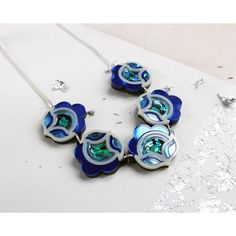 Flora Link Necklace: Blue Iridescent Black Holographic.